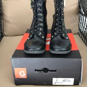 Guess Black Buckle, Charm,Zip Combat Boots